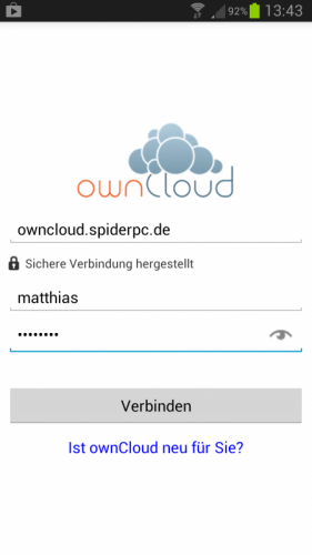 ownCloud-Client Android Einrichtung