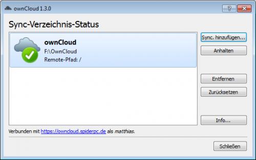 ownCloud-Client Sync-Übersicht