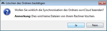 ownCloud-Client Sync löschen