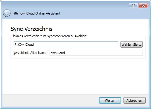 ownCloud-Client neuen Sync einrichten 1