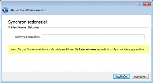 ownCloud-Client neuen Sync einrichten 2