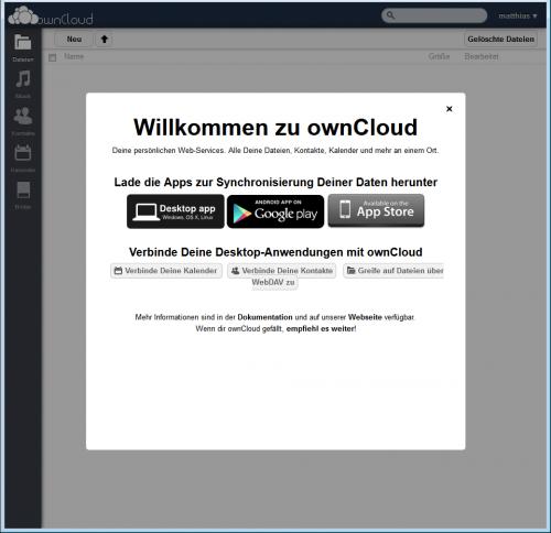 ownCloud-Server erste Begrüßung
